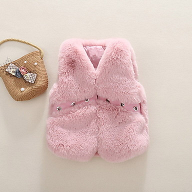 cheap Girls' Jackets & Coats-Kids Girls' Street chic Print Cotton Vest Purple