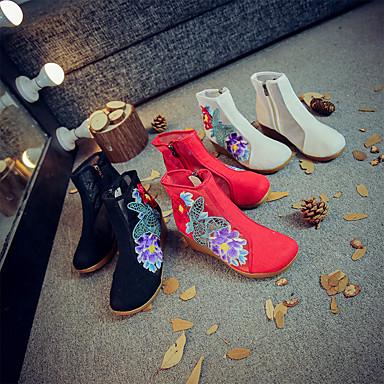 Női Csizmák Ék sarkú Kerek orrú Szatén virág Vászon / Háló Magas szárú csizmák Vintage / Kínai Tavasz & Ősz / Ősz & tél Fekete / Piros / Bézs