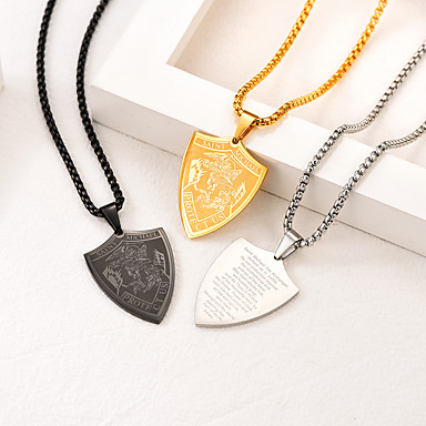 cheap Pendant Necklaces-Men's Women's Pendant Necklace Necklace Classic Shield Classic Fashion Titanium Steel Black Gold Silver 55 cm Necklace Jewelry 1pc For Gift Daily Festival / Charm Necklace