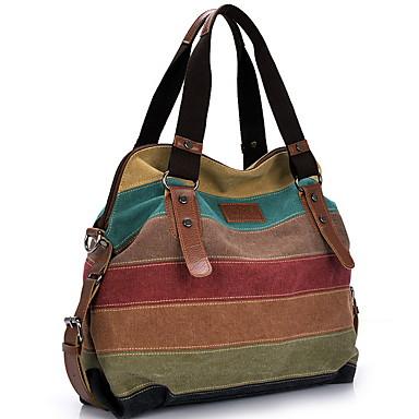 cheap Top Handles & Tote Bags-Women's Zipper Canvas Top Handle Bag Color Block Khaki