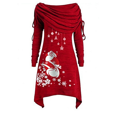 cheap New Arrivals-Women's Christmas Daily Wear Basic Asymmetrical A Line Dress - Geometric Off Shoulder Black Purple Blue S M L XL