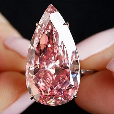 billige Motering-Dame Ring 1pc Rose Gull Fuskediamant Legering Annerledes Klassisk Koreansk Mote Gave Daglig Smykker Klassisk Pære