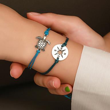 voordelige Dames Sieraden-2pcs Dames Armband Gevlochten Schildpad Europees Legering Armband sieraden Zwart / Wit / Blauw Voor Straat
