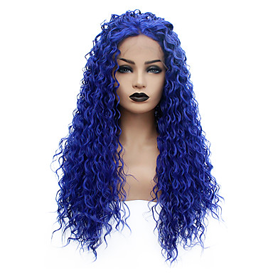 cheap Synthetic Lace Wigs-Synthetic Lace Front Wig Curly Taylor Middle Part Lace Front Wig Long Blue Synthetic Hair 22-26 inch Women's Heat Resistant Women Hot Sale Blue / Glueless