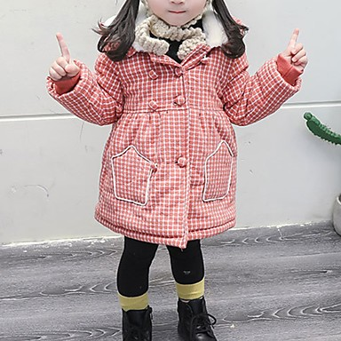cheap Girls' Clothing-Kids Girls' Street chic Striped Down & Cotton Padded Orange