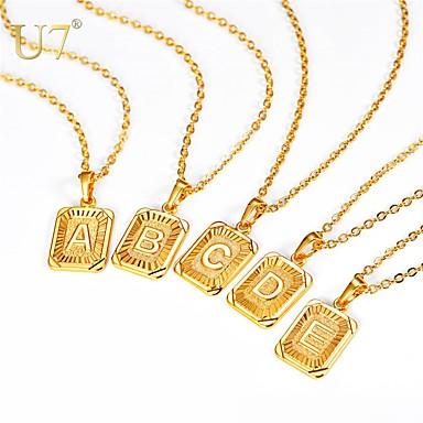 povoljno Modne ogrlice-Muškarci Žene Ogrlice s privjeskom Ogrlica Charm Necklace X Slovo Jednostavan Moda Početno Nakit Kamen Zlato Srebro 55 cm Ogrlice Jewelry 1pc Za diplomiranje Dar Dnevno Festival