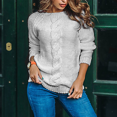 cheap New Arrivals-Women's Solid Colored Long Sleeve Pullover Sweater Jumper, Round Neck White / Blushing Pink / Blue S / M / L