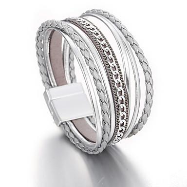 levne Dámské šperky-Dámské Kožené náramky Klasika Pletený Módní Lidová Style PU Náramek šperky Šedá Pro Dar Denní Práce