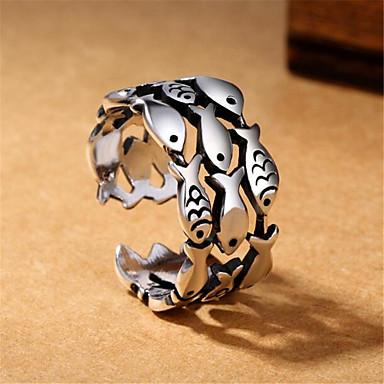 levne Pánské šperky-Pánské Otevřete kruh Nastavitelný kroužek 1ks Stříbrná Měď Postříbřené Geometric Shape Vintage Módní Denní Street Šperky Retro styl Ryby Drahocenný Cool