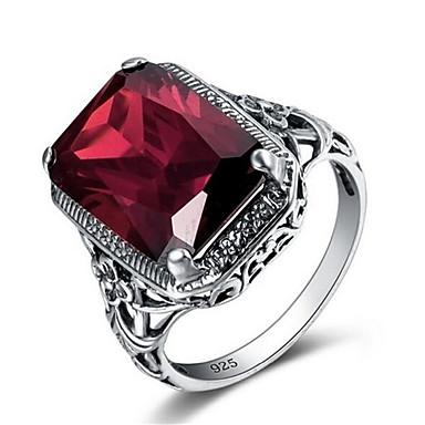 voordelige Band Ring-Heren Bandring Ring 1pc Rood Koper Verzilverd Glas Geometrische vorm Vintage Modieus Dagelijks Werk Sieraden Vintagestijl Kostbaar Cool