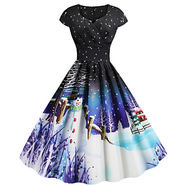cheap New Arrivals-Women's Christmas Festival Basic Sheath Dress - Snowflake Snowman, Print Sweetheart Neckline Black Purple Blue S M L XL Belt Not Included