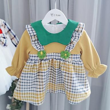 povoljno Odjeća za bebe-Dijete Djevojčice Aktivan Print Dugih rukava Haljina Bijela