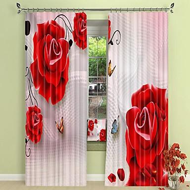 vörös rózsa digitális nyomtatás 3d függöny árnyékoló függöny nagy pontosságú fekete selyem ruhával kiváló minőségű függöny