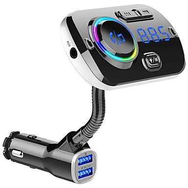 billige Motorsykkel & ATV tilbehør-fm sender bilsett handsfree trådløs Bluetooth mp3-spiller dual usb qc3.0 hurtiglader handsfree fargerik lysstøtte siri