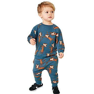 povoljno Odjeća za dječake-Dijete koje je tek prohodalo Dječaci Osnovni Cvjetni print Print Dugih rukava Komplet odjeće Plava