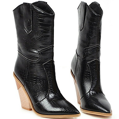 cheap Women's Boots-Women's Boots Cowboy / Western Boots Chunky Heel Pointed Toe Microfiber Mid-Calf Boots Fall & Winter Black / White / Yellow
