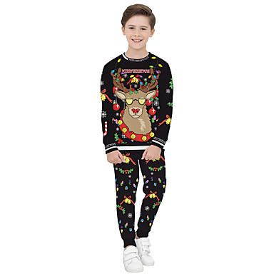 povoljno Odjeća za dječake-Djeca Dječaci Aktivan Ulični šik Božić Festival Djed Mraz Prugasti uzorak Color block Božić Print Dugih rukava Komplet odjeće Crn
