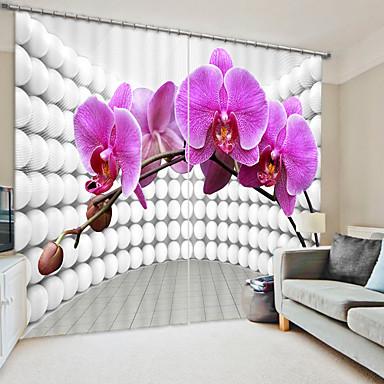 háromdimenziós kreatív rózsaszínű phalaenopsis digitális nyomtatás 3d függöny árnyékoló függöny nagy pontosságú fekete selyemszövet magas színvonalú függöny