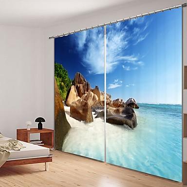 tengerparti zátony digitális nyomtatás 3d függöny árnyékoló függöny nagy pontosságú fekete selyem szövet hgh minőségű függöny