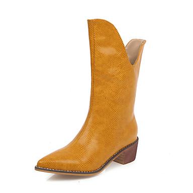 preiswerte Frühherbst Stiefel-Damen Stiefel Cowboy / Western Boots Blockabsatz Spitze Zehe PU Herbst Winter Schwarz / Weiß / Gelb