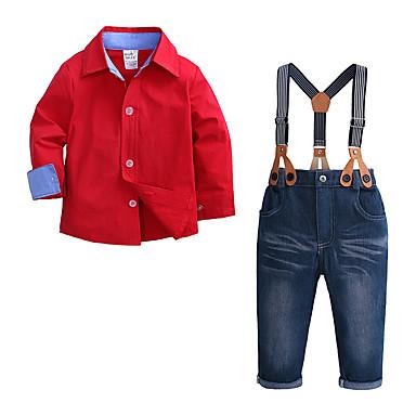 povoljno Odjeća za dječake-Djeca Dijete koje je tek prohodalo Dječaci Aktivan Ulični šik Zabava / večer Dnevno Jednobojni Dugih rukava Regularna Normalne dužine Komplet odjeće Red