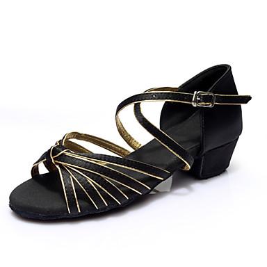 preiswerte Tanzschuhe-Damen Tanzschuhe Lackleder Schuhe für den lateinamerikanischen Tanz Absätze Starke Ferse Maßfertigung Schwarz und Gold