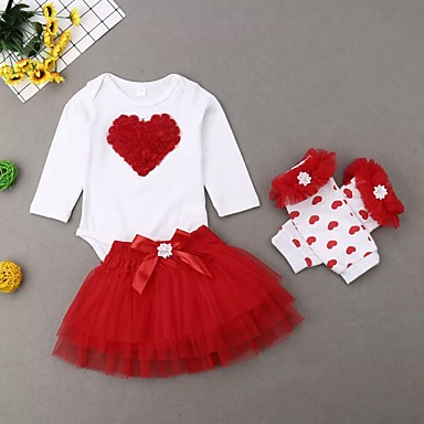 cheap Baby Girls' Clothing Sets-Baby Girls' Active / Basic Floral Lace / Bow / Mesh Long Sleeve Regular Regular Clothing Set White