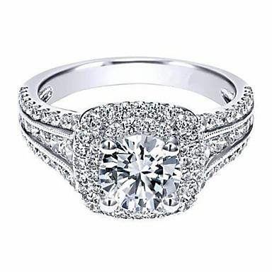 billige Motering-Dame Ring Kubisk Zirkonium 1pc Hvit Gullbelagt Geometrisk Form Stilfull Gave Daglig Smykker Klassisk Stjerne Kul