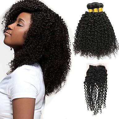 povoljno Ekstenzije od ljudske kose-3 paketi s zatvaranjem Brazilska kosa Kinky Curly Virgin kosa 100% Remy kose tkanja Bundle Ljudske kose plete Bundle kose Jedan Pack Solution 8-20 inch Prirodna boja Isprepliće ljudske kose Nježno