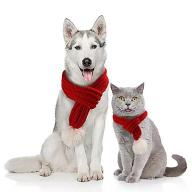 preiswerte Haustier Weihnachten Kostüm-Hunde Katzen Hundeschal Winter Hundekleidung Grün Rot Grau Kostüm Corgi Beagle Shiba Inu Acrylfasern Solide Weihnachten Weihnachten S M L