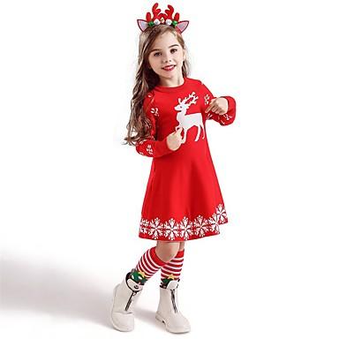 cheap Kids' New Arrivals-Kids Toddler Girls' Active Sweet Deer Animal Snowflake Christmas Print Short Sleeve Knee-length Dress Blue