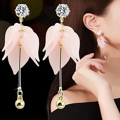 povoljno Modne naušnice-Žene Viseće naušnice 3D Latica Romantični Elegantno Smola Imitacija dijamanta Naušnice Jewelry Pink Za Dnevno