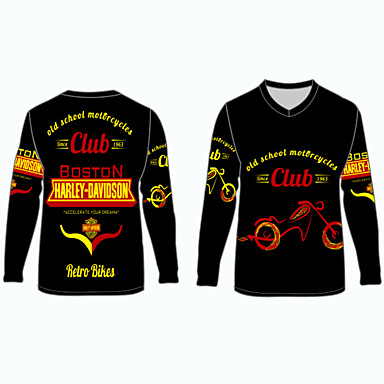 billige Motorsykkel & ATV tilbehør-boston harley davidson retro sykler motorsykkel klær skjorter topper jersey for unisex polyester / polyamid pustende / raskt tørr