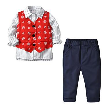 levne Chlapecké oblečení-Děti Chlapecké Základní Vánoce Domů Tisk Komiks Tisk Dlouhý rukáv Standardní Standardní Sady oblečení Rubínově červená