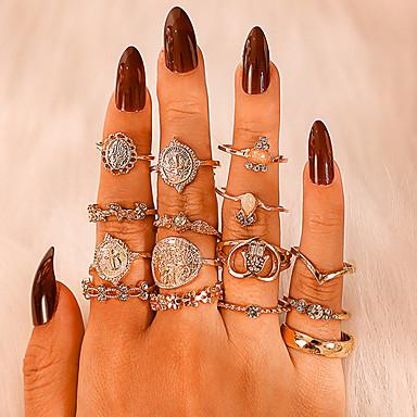 billige Motering-Dame Ring Ring Set 15pcs Gull Strass Legering Annerledes Vintage trendy Etnisk Gave Daglig Smykker Klassisk Kors Hjerte