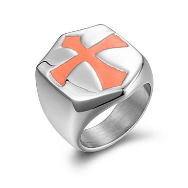 voordelige Dames Sieraden-Heren Bandring Ring 1pc Zwart Goud Zilver Titanium Staal Stijlvol Standaard Casual / Sporty Lahja Dagelijks Sieraden Kruis