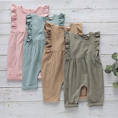 povoljno Odjeća za bebe-4 komada Dijete Djevojčice Aktivan / Osnovni Plava Jednobojni Nabori Bez rukávů Kombinezon Blushing Pink