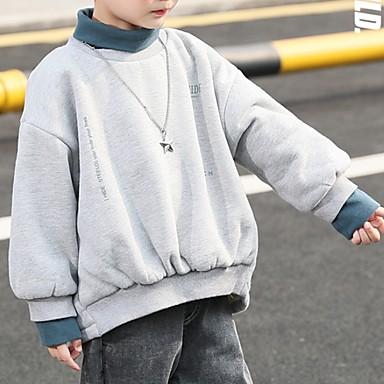 preiswerte Kapuzenpullover & Sweatshirts für Jungen-Kinder Jungen Street Schick Druck Langarm Kapuzenpullover Blau