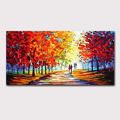 cheap Oversized Painting-Oil Painting Hand Painted - Landscape Abstract Landscape Modern Stretched Canvas