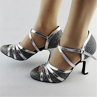 cheap Ballroom Shoes & Modern Dance Shoes-Women's Modern Shoes / Ballroom Shoes Synthetics Ankle Strap Heel Glitter / Splicing Thick Heel Customizable Dance Shoes Silver / Performance