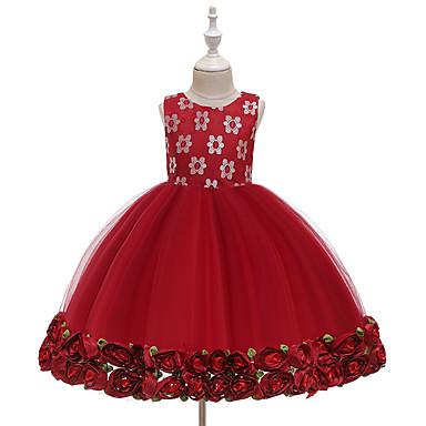 povoljno Odjeća za bebe-Dijete Djevojčice Aktivan Rose Jednobojni Vezeno / Više slojeva Bez rukávů Midi Haljina Obala