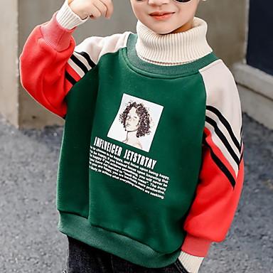 preiswerte Kapuzenpullover & Sweatshirts für Jungen-Kinder Jungen Street Schick Druck Langarm Kapuzenpullover Schwarz