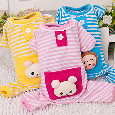 cheap Dog Clothes-Cat Dog Jumpsuit Pajamas Cartoon Casual / Daily Cute Winter Dog Clothes Yellow Blue Pink Costume Cotton XS S M L XL