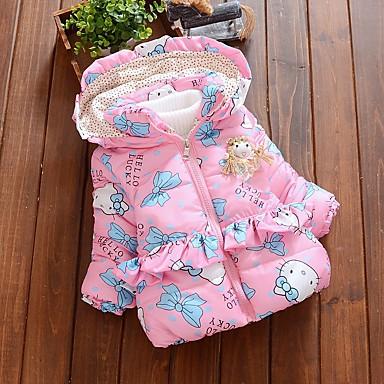 cheap Baby Girls' Outerwear-Baby Girls' Basic Cat Print Bow Long Sleeve Cotton Down & Cotton Padded Blushing Pink / Toddler