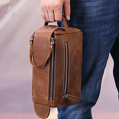 cheap New Arrivals Discount-Men's Zipper Cowhide Clutch Solid Color Brown