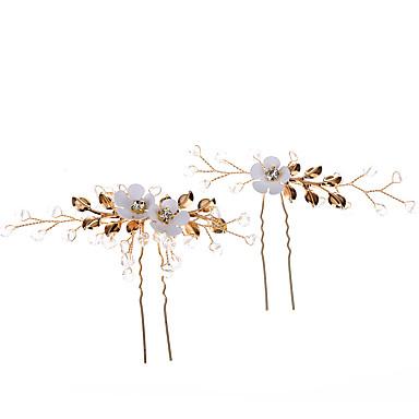Ötvözet Hair Stick val vel Kristály / Strassz / Virág Egy pár × 2 Esküvő / Hétköznapi viselet Sisak