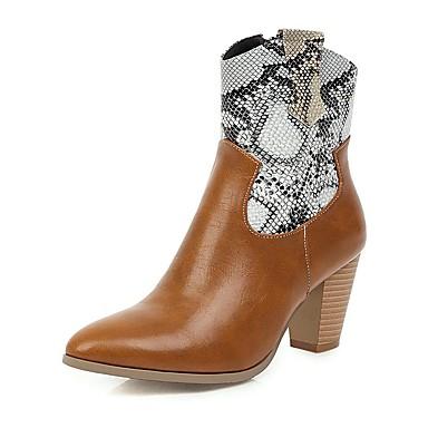 voordelige Dameslaarzen-Dames Laarzen Blokhak Gepuntte Teen PU Korte laarsjes / Enkellaarsjes Informeel / Brits Winter Zwart / Geel / Kleurenblok