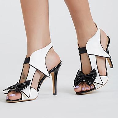 levne Dámské sandály-Dámské Sandály Vysoký úzký Otevřený palec Mašle PU Klasické Léto Bílá / Barevné bloky