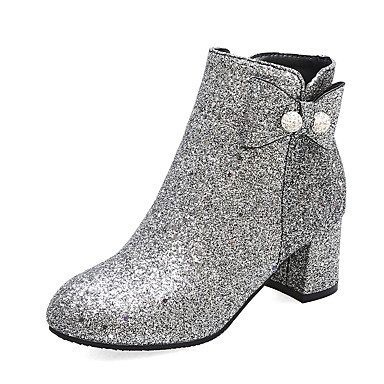 cheap Women's Boots-Women's Boots Chunky Heel Round Toe Casual British Daily Party & Evening Bowknot Sequin Solid Colored PU Booties / Ankle Boots Blue / Silver