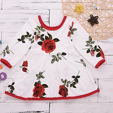 preiswerte Mode für Mädchen-Baby Mädchen Grundlegend Solide Langarm Kleid Weiß